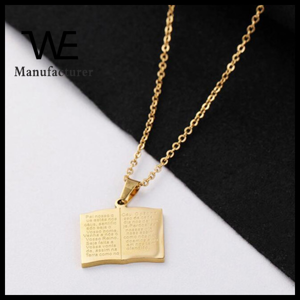Stainless steel bible book pendant gold necklace designs in 10 grams