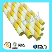 Customized Unique Striped Paper Straws Butter Yellow Color