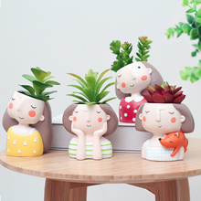 Roogo cute girl mini resin plant pots for gift