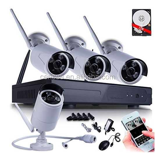 NVR 720P HD Wireless WIFI IP Network Camera System Video Surveillance Kits with 4 of 720P Outdoor IR Bullet