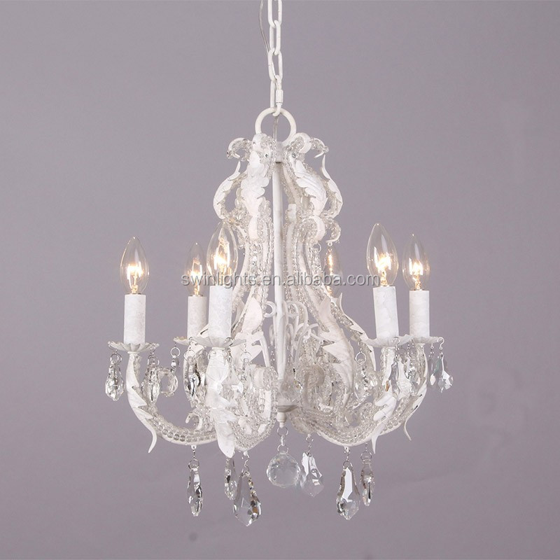 Hot selling wholesale RH crystal chandelier, antique white iron chandelier lighting C6031-6