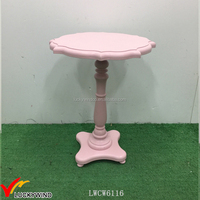 Antique Pink Paint Pedestal Wood Small Bedside Table