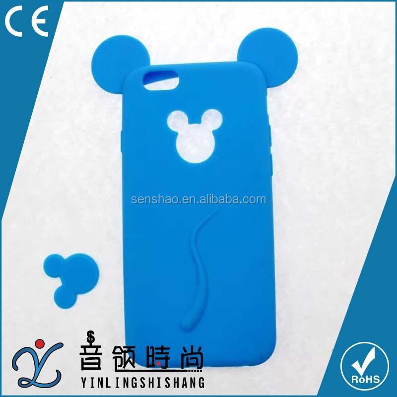 cheap new fashion soft silicone colorful 3D Mickey mouse ear phone case For iphone5 6 6plus cases