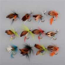 Promotion Fly Fishing Lure 12pcs/set Insect Style Mosquito Flies Lures Hook Dry Fishing Tackle