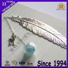 New design silver feather shaped notebook page bookmark
