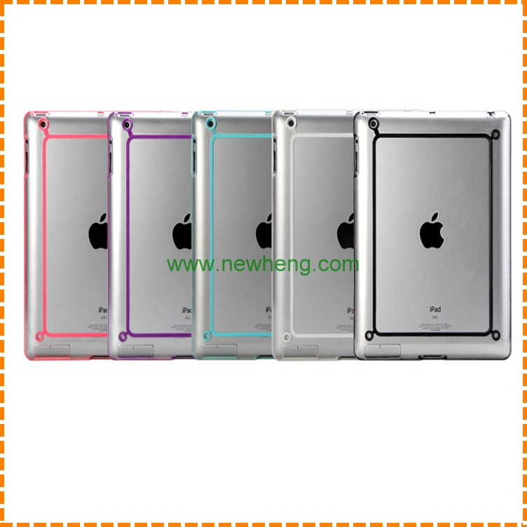 Hot selling Transparent crystal color bumper silicone soft tablet case for ipad air1