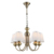 European style 5 lights antique brass chandelier with fabric shade indoor decoration
