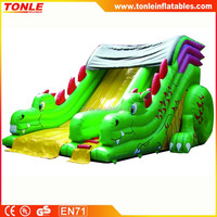 Lovely Green Dragon Slip Inflatable Slide for child