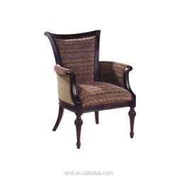 Hand carved solid wood strong hotel chair fabric
