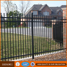 PVC coated ornamental faux wrought iron fence