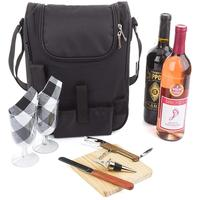 Insulated Travel Portable 2 Bottle Wine and Cheese Tote Bag Waterproof Black Carrier Picnic Backpack Bag Set Kit included