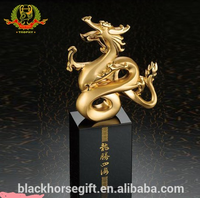 Advanced Chinese Dragon Gold Metal Dragon Sculpture Office Decor Trophy With Black Crystal Base