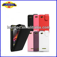 100% Perfect fit,Leather Flip Case for Sony Xperia M, Xperia M Flip case cover----Laudtec