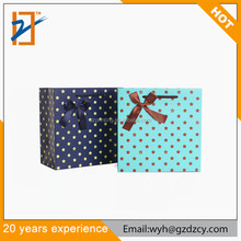 Manufacturer China Good Price Funny Polka Dot Paper Gift Bags With Bow Tie Ribbon