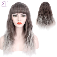 Guanghzhou Supply Wigs Cosplay Grey Silver Ombre Long Curly Yaki Women Hair Wigs