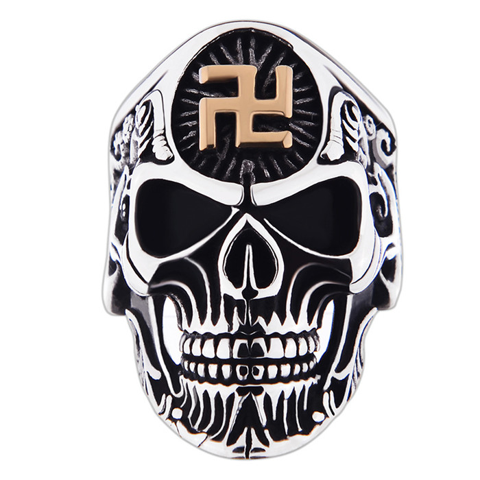 Wholesale Gothic Style Biker Antique Skull Shaped Stainless Steel <strong>Ring</strong> for Men
