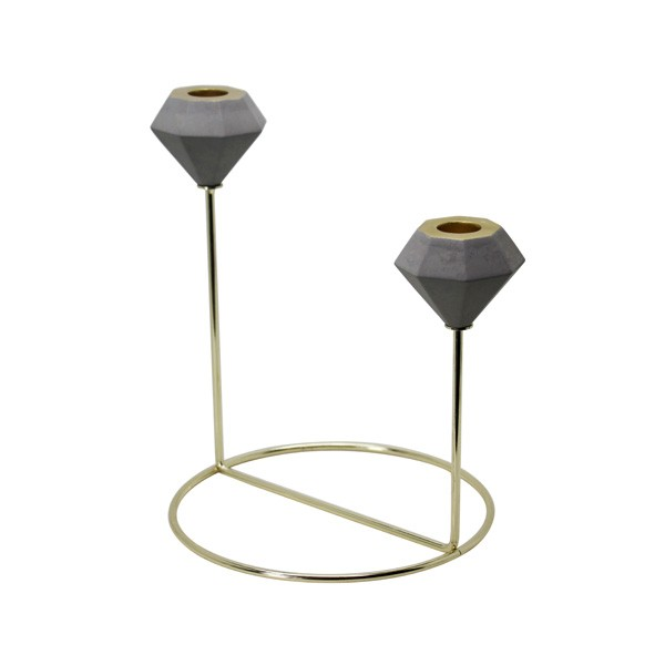 Cement candle holder with metal gold,copper,sliver holder