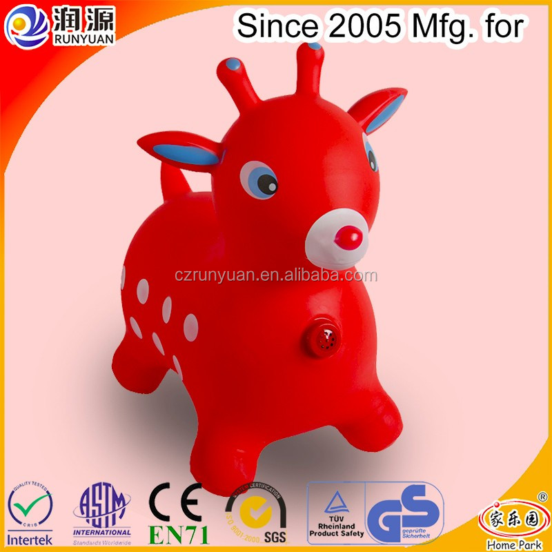 Factory sale Inflatable animal with eco-friendly PVC jumping deer funny toys plastic Inflatable jumping deer with music