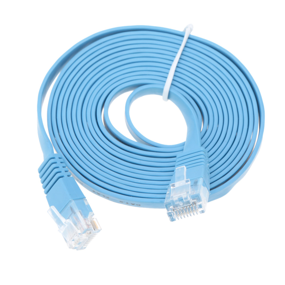 High Speed RJ45 Cat6 Cable Flat Ethernet Cable High Quality Blue Computer LAN Cable Internet Network Cord 20m/65.61ft