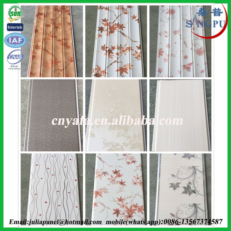 All kinds of PVC Ceiling wood design wave lamination pvc ceiling panel and pvc wall panel made in China Yafa