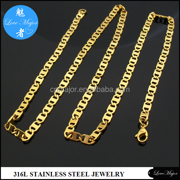 Women's PVD gold plated thin sheet chain Stainless Steel Necklace of Fashion Jewelry