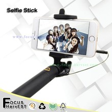 Aluminium channel wired selfie stick with cable selfie monopod stick