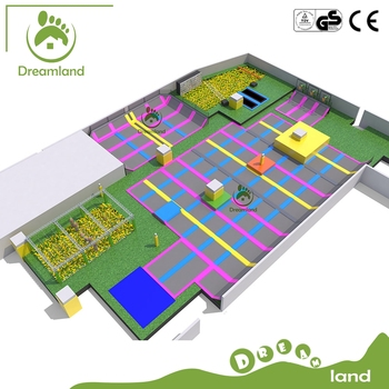 2017 New design preschool trampoline park, large indoor playground equipment trampolines for sale
