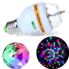 E27/B22 3W AC85-260V RGB colors rotating party decoration led bulb