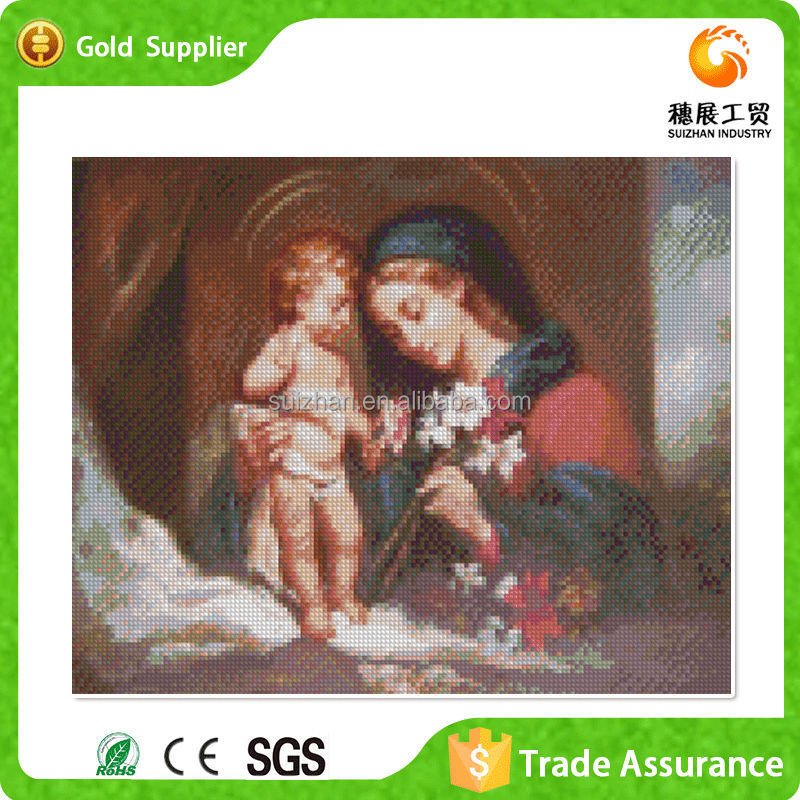 Yiwu Manufacture Supply Diy Diamond Mother With Her Nude Child Oil Painting