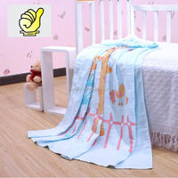 New 2014 Baby Products100% cotton Baby Kids Blanket Swaddle Bath towel with lovely bear, Printing towel--blue color