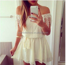 Small MOQ Europea summer hot style boat neck white lace backless fluffy dress
