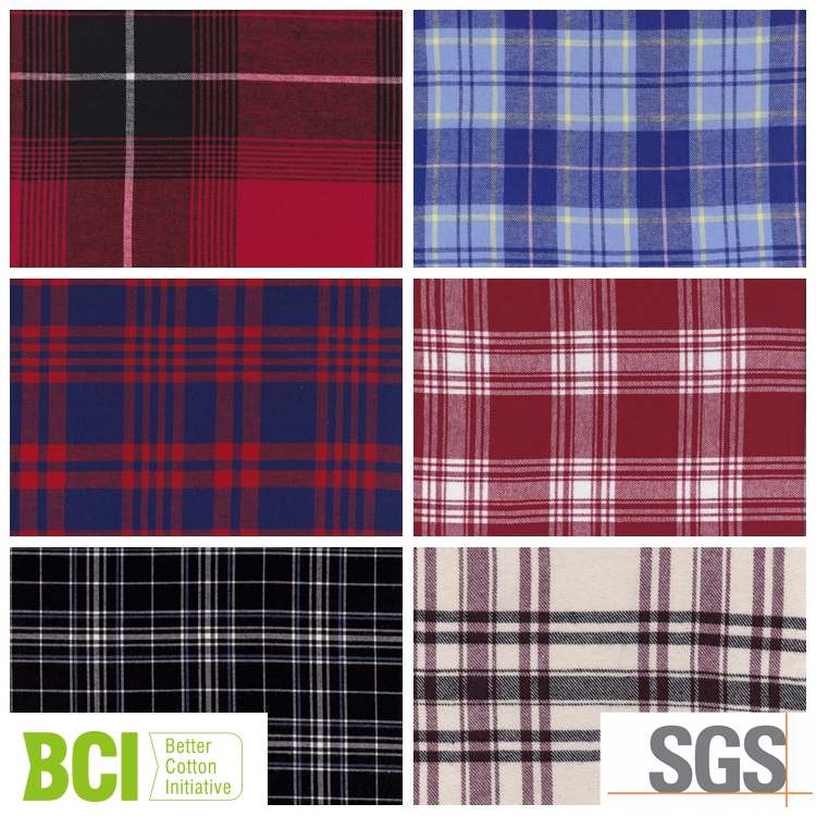 polyester cotton twill brushed flannel shirting dress fabrics
