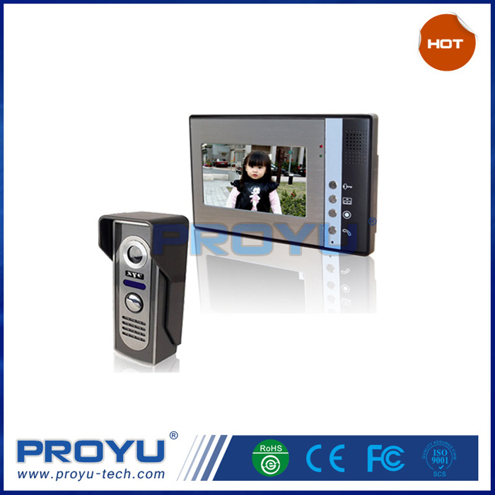 High quality 7 Inch 4 Wired video Intercom with door release for villa PY-V802M11