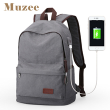 Muzee Wholesale Factory Hot Selling Vintage USB Canvas Laptop Backpack for Men