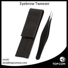 Tweezers Pointed Black Includes CASE - Precision Eyebrows Tweezer - Stainless Steel