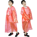 High quanlity red waterproof long plastic raincoat for adults