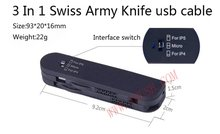 3 In 1 Swiss Army Knife design Portable gift USB Cable for mobilephone