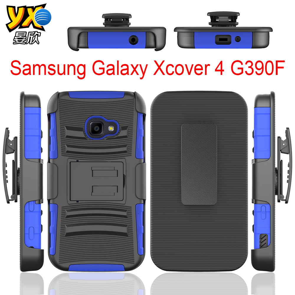 3 in 1 Phone Case with Kickstand and Belt Clip TPU+PC Combo Case For Samsung Galaxy Xcover 4 G390F