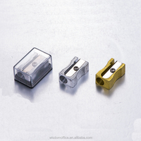 aluminium alloy silver /gold metal pencil sharpener with box