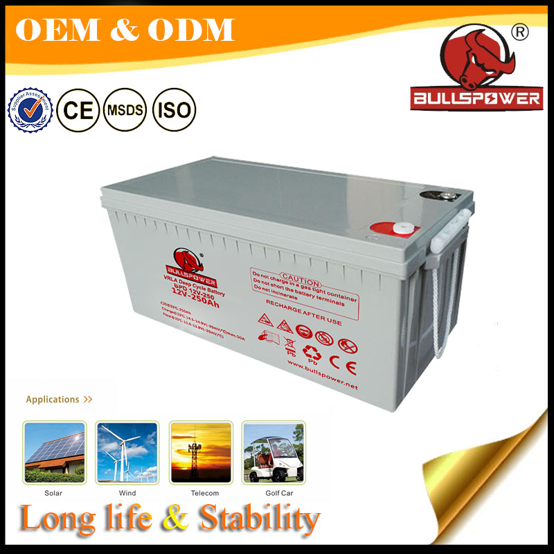 12 years float life 24v agm Deep cycle solar battery 12v 250ah