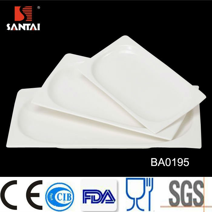Hot wholesale durable porcelain white rectangular plates for hotel and resturant