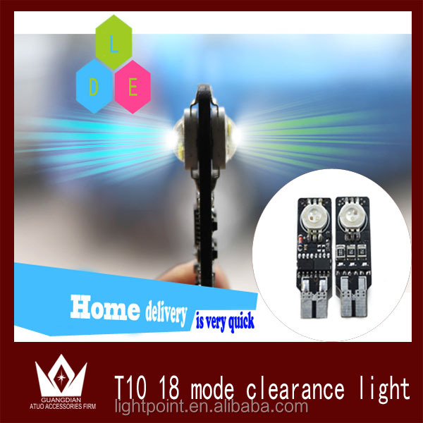 LightPoint Flash LED RGB T10 194 T10 w5w LED Seven Generations Ultimate w5w LED Width Lamp 18Kinds of Patterns