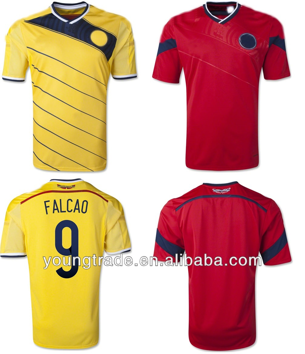 cheap wholesale top thai quality grade 2014 world cup Falcao jersey Colombia soccer shirt