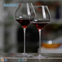 SANZO Beautiful 2 color in 1 Wine Glass Set Clear Stem /Tableware/Table Glass