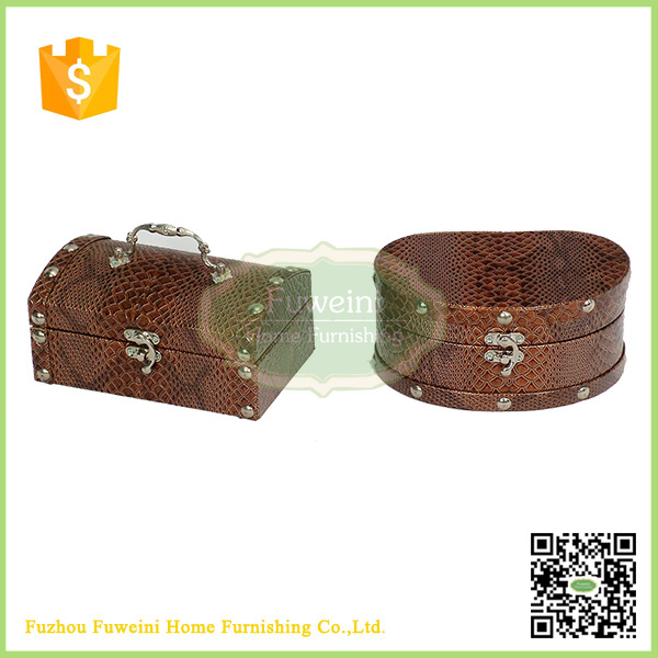 leather surface large wooden jewelry box wholesale with drawer