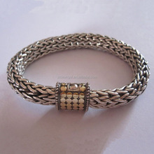 High Quality Fashionable Women Men Chunky Sterling Silver Wheat Chain Bracelet