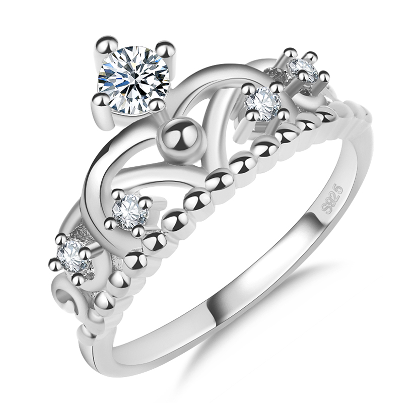 Wholesale classic silver platinum plated cross crown engagement ring for women