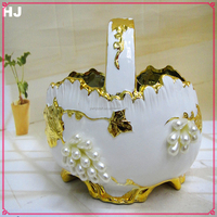 Yiwu hot selling unbreakable gold plated fruit bowl wedding gifts ceramic bowl