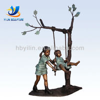 Bronze Kids on a Tree Swing Sculpture Garden Decor