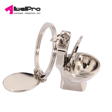 2018 cute 3D closestool metal keychain with mini toilet key chain for souvenir gift
